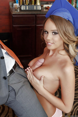 College honey Alexis Adams flashes her excellent zeppelins and gives oral sex