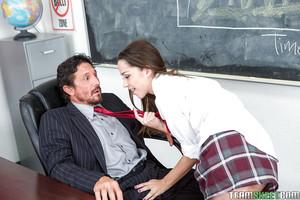 Adolescent schoolgirl Nikki Next giving gigantic cock CFNM fellatio and cock masturbating