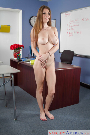 Coed gal Dillion Carter is undressing on the table right after work