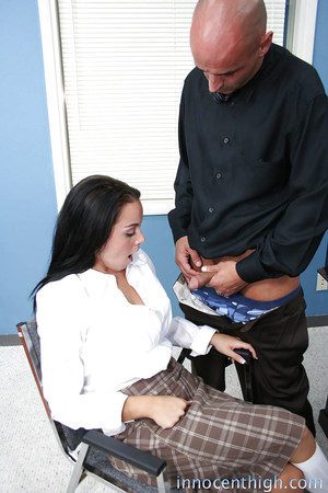 European brunette hair Natasha engulfing that large severe 10-Pounder in the office