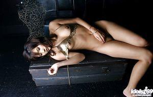 Oriental infant Sara Tsukigami revealing her splendid titties and wavy cum-hole
