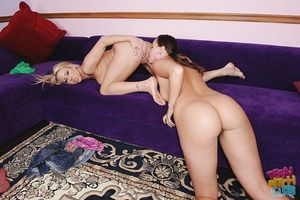 Adolescent Carolyn and Ariel have woman-on-woman liking with anal toys exact day