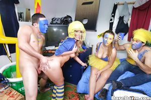 Coed party hotty Harley Jade riding pride cowgirl style in socks during groupie