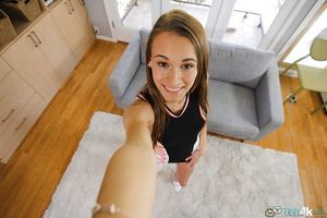 Willowy Kacy Lane takes off her unyielding clothing and shows her anal space