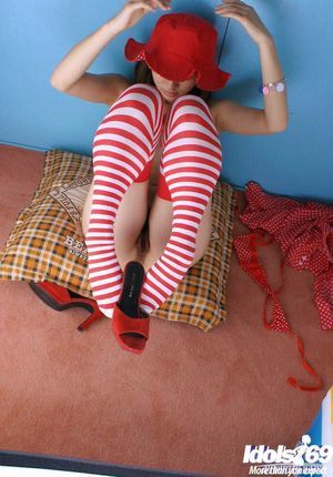 Fabulous eastern infant princess in socks uncovering her compact body