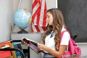 Schoolgirl Cassidy Klein shows off upskirt and unveils her wavy cage of love