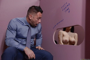 Amateur beauty Noelle Easton and her massive naturals spend time at the gloryhole