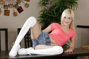 Fairy-haired pornstar Piper Perri strutting non undressed in white OTK socks