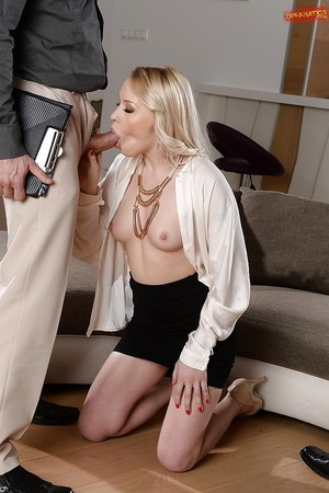 Euro wench Lola Taylor showed that blondes are getting joy in a two men plus one female