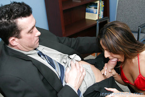 Giggly hooker Lila James fascinating her crude boss with a deepthroat
