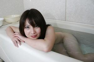 Spry Chinese darling with ample tits Momo Akiyama delightful washroom
