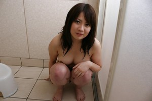 Spry Chinese darling with ample tits Momo Akiyama delightful washroom