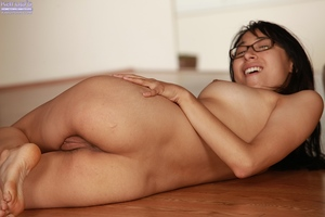 Perky asian playgirl in glasses getting nude and fingering her rigid gash