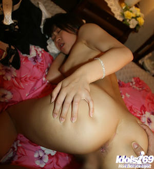 Lecherous Japanese darling acquires penetrated and takes a spunk fountain on her tongue