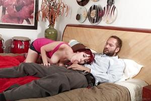 Attractive redhead amateur Sasha Attractive gives a deep deepthroat cocksucking