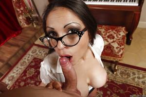 Amateur doxy with major marangos and extreme glasses Marta La Croft is enjoying anal