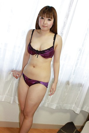 Bosomy Japanese juvenile Honoka Ono undressing and playing with a sextoy