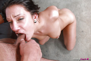 Brown hair doxy Brooke Mjyers obtains on her knees for bj on casting bed