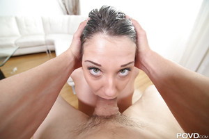 Dazzling blue eyed brunette hair Brooke Myers getting a creamy facial