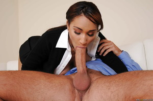 Latin cutie schoolgirl Lola James is blowing a enormous penis and deed titjob