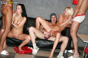 Lecherous teen-age sweeties full around a zealous groupsex at the address get-together