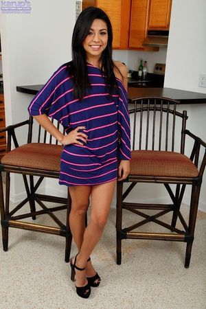 Magnificent youthful cutie Serena showing that adorable in nature\'s garb body