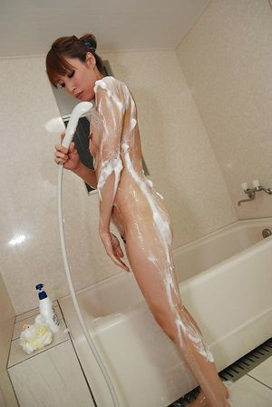 Slippy Chinese adolescent with frisky breasts Yuka Wakamatu taking shower
