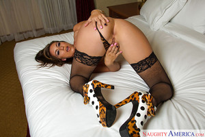 Jacking off adolescent Rilynn Rae in stockings and the nearly all extreme high heels