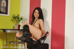 European brunette hair Ferrera is touching her adult baby shaved cage of love on live camera