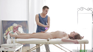 Juvenile hottie Avery receiving full body massage and painful penetration