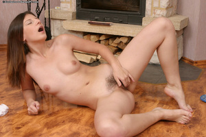 Nasty infant with unshaven cooter undressing and playing with herself
