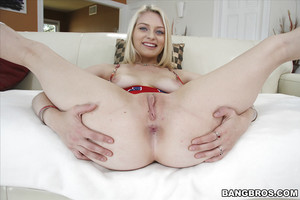 Infant golden-haired sweetheart Alii Rae posing in socks and flashing admirable gazoo and pussy