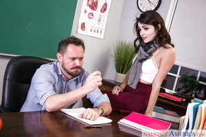 Coed darling Adria Rae flashing white undies on desk earlier than ready money expulsed