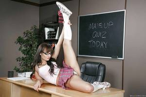 Nerdy schoolgirl Charlotte Cross flashing alluring youngster underclothing