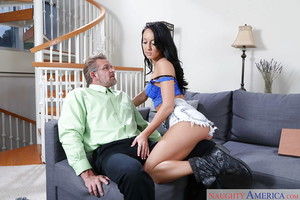 Dark hair Coed Latin chick Sabrina Banks blows granddad and swallows cock juice