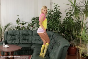 Wonderful juvenile hotty Noleta is act some masturbating in socks