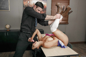 Latina chicito schoolgirl Valerie Kay has her big bazookas stroked by teacher