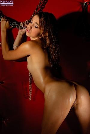 Petite youthful queen Gigi Rivera exposing flat Latin hottie chest
