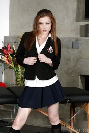 Virginal schoolgirl Penny Brooks erotic dance off school uniform