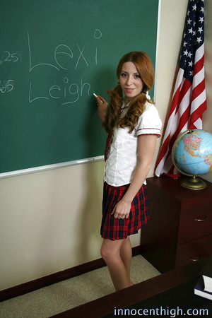 Stunning schoolgirl teen Lexy undressing in the class room