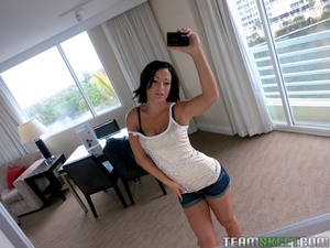 Hungry girlfriend Kelly DIamond filming she is in shorts