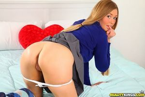 Sticky schoolgirl doll Zoe Mae is swelling her shaved legs in appealing socks