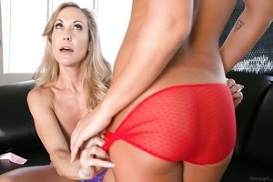 Lesbian babes Brandi Love and Carter Travel are screwing with sex utensils