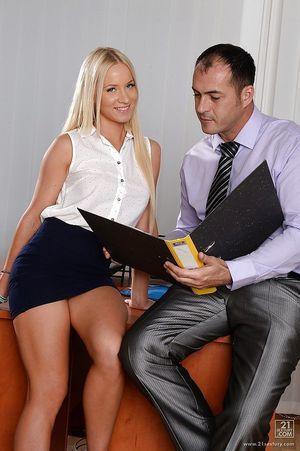 Dressed European blondie Kiara Lord sucks big 10-Pounder of her boss