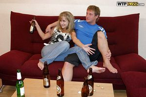 Drunk teenage floosie gets involved into passionate FMM groupsex
