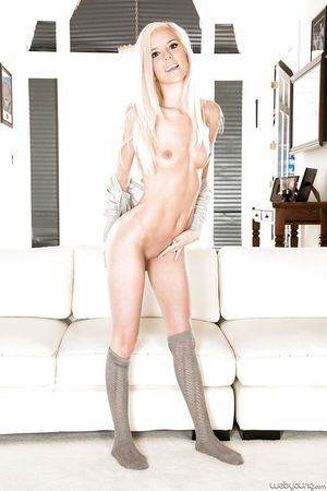 Diet young babe Halle Von posing in socks and pretty underclothes