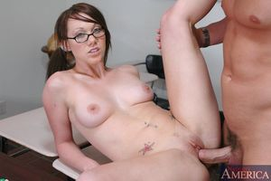 Sexy coed in glasses Samantha Sin fucked in group massive by her professor