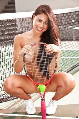 Sporty dark hair coed Katelyn Laney uncovering her titsy body