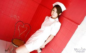 Breasty asian nurse Haruka Sanada winning off her uniform and lacy underclothing