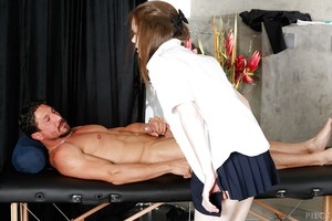 Teen schoolgirl Penny Brooks jacking stick and taking in ejaculation